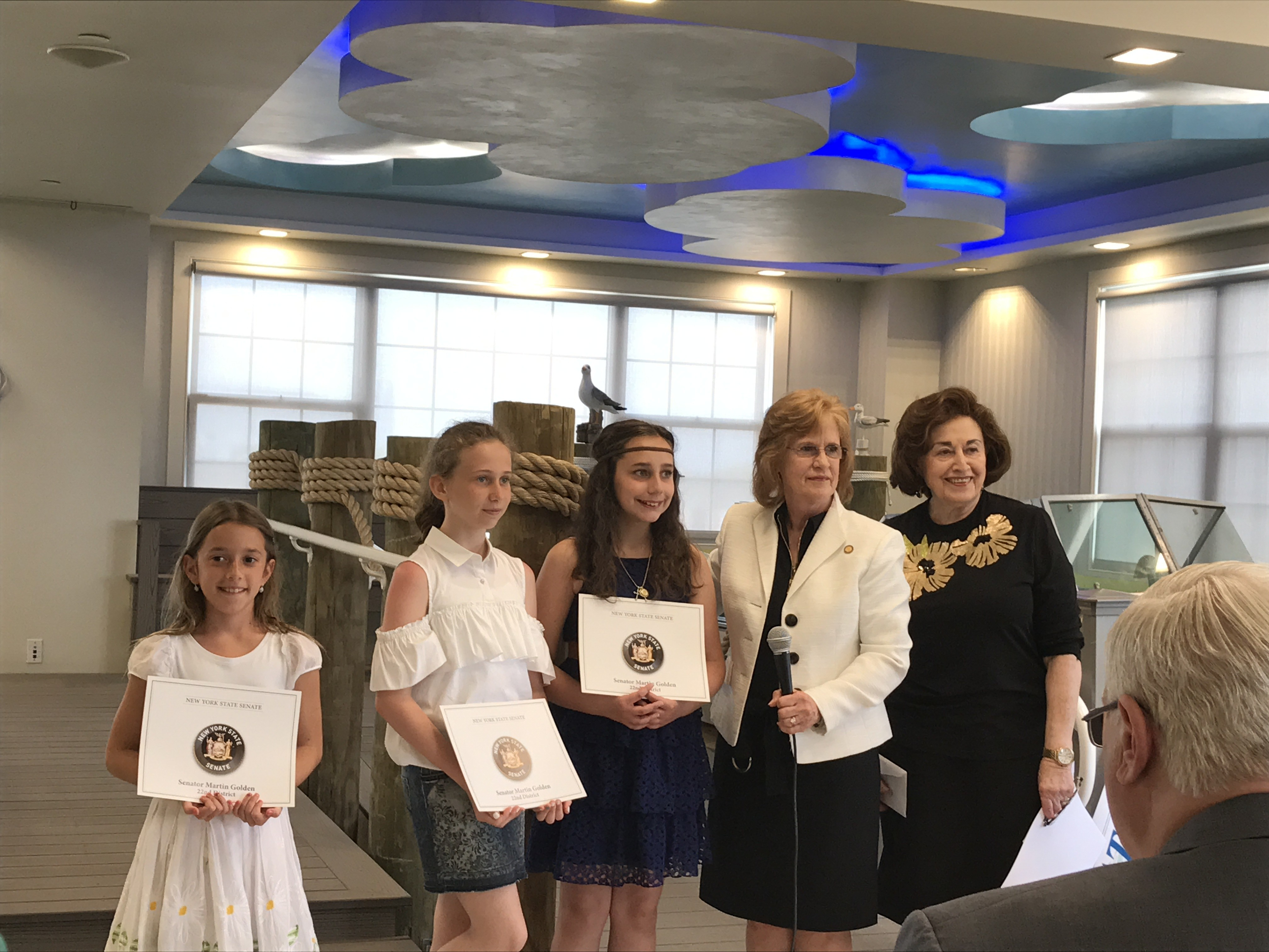 community essay awards ceremony sheepshead nursing news  essay winners joined by mrs olga lipschitz and doreen jarson community representative from senator