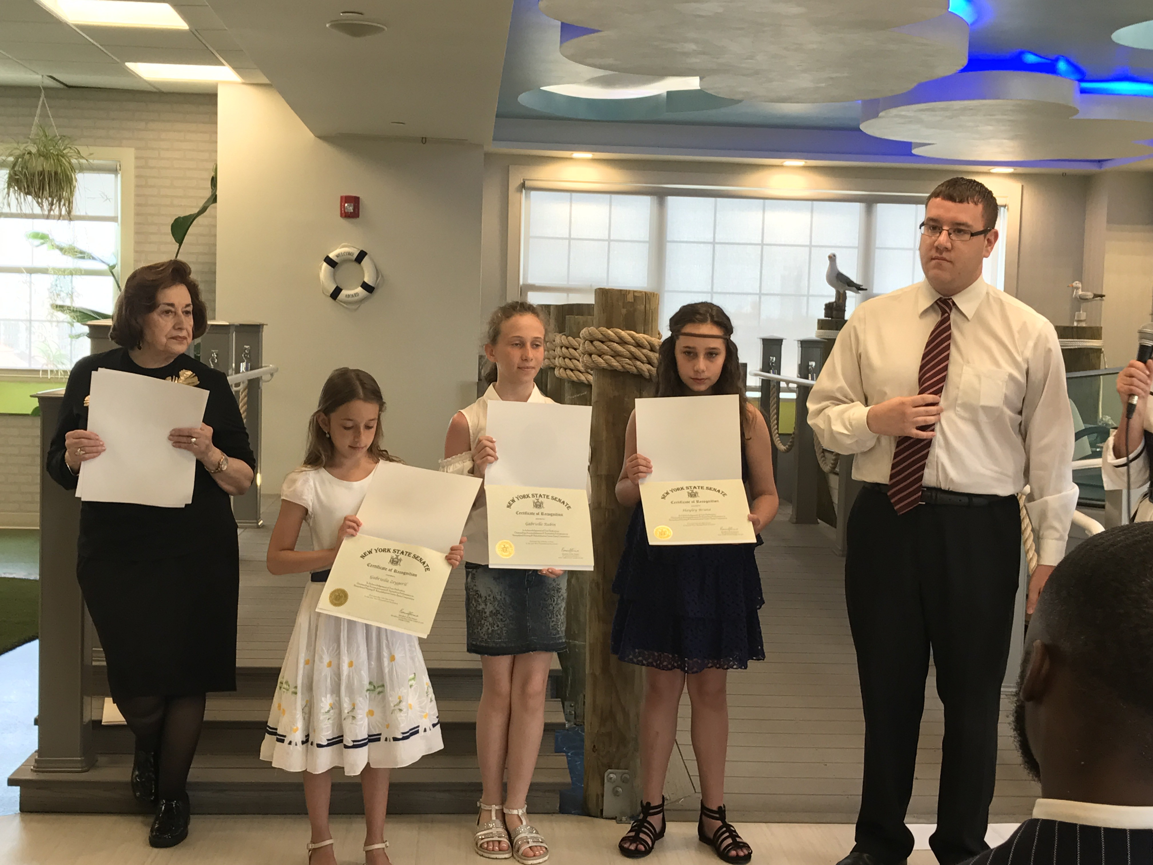 community essay awards ceremony sheepshead nursing news  essay winners joined by mrs olga lipschitz and mitchell partnow chief of staff from